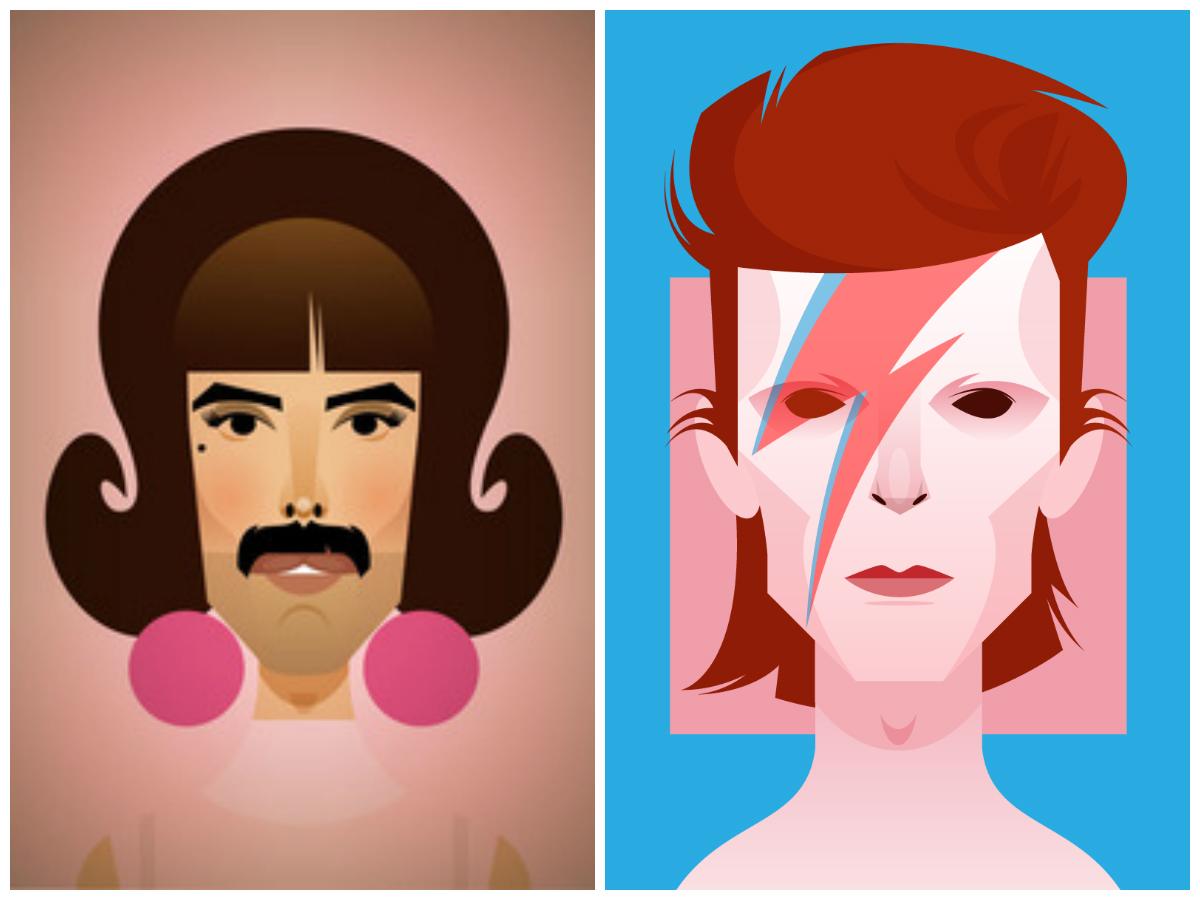 Freddie Mercury y Bowie by Stanley Chow