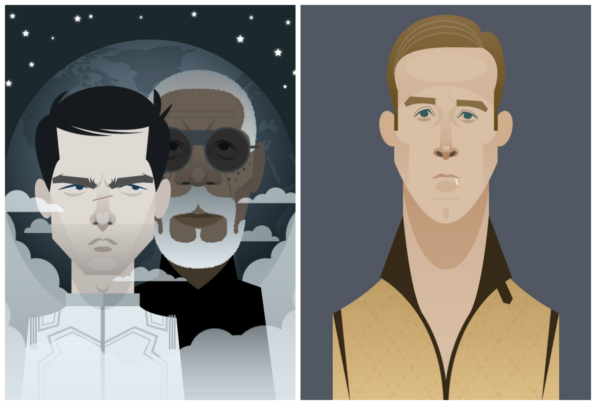 Ryan Gosling, Tom Cruise y Morgan Freeman by Stanley Chow