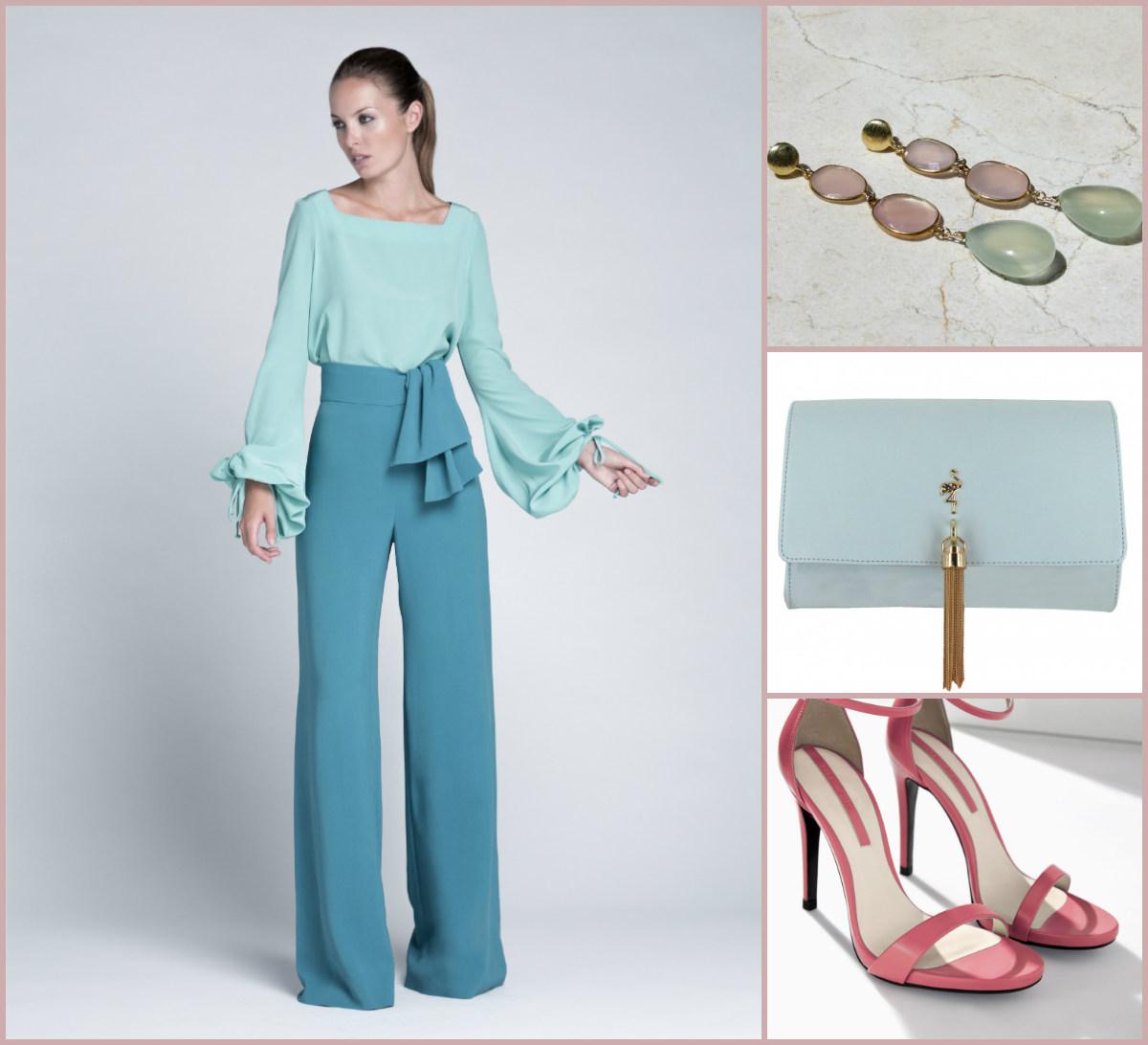 Dos piezas de Colour Nude, sandalias de Zara, bolso de Menbur y pendientes de Marbellous.