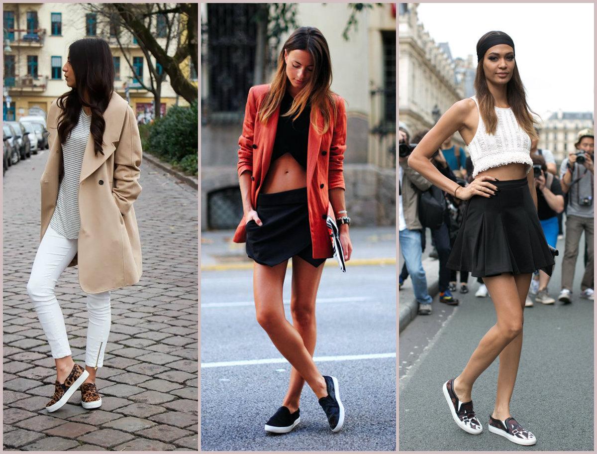La blogger Zina Charkoplia con slip on sneakers