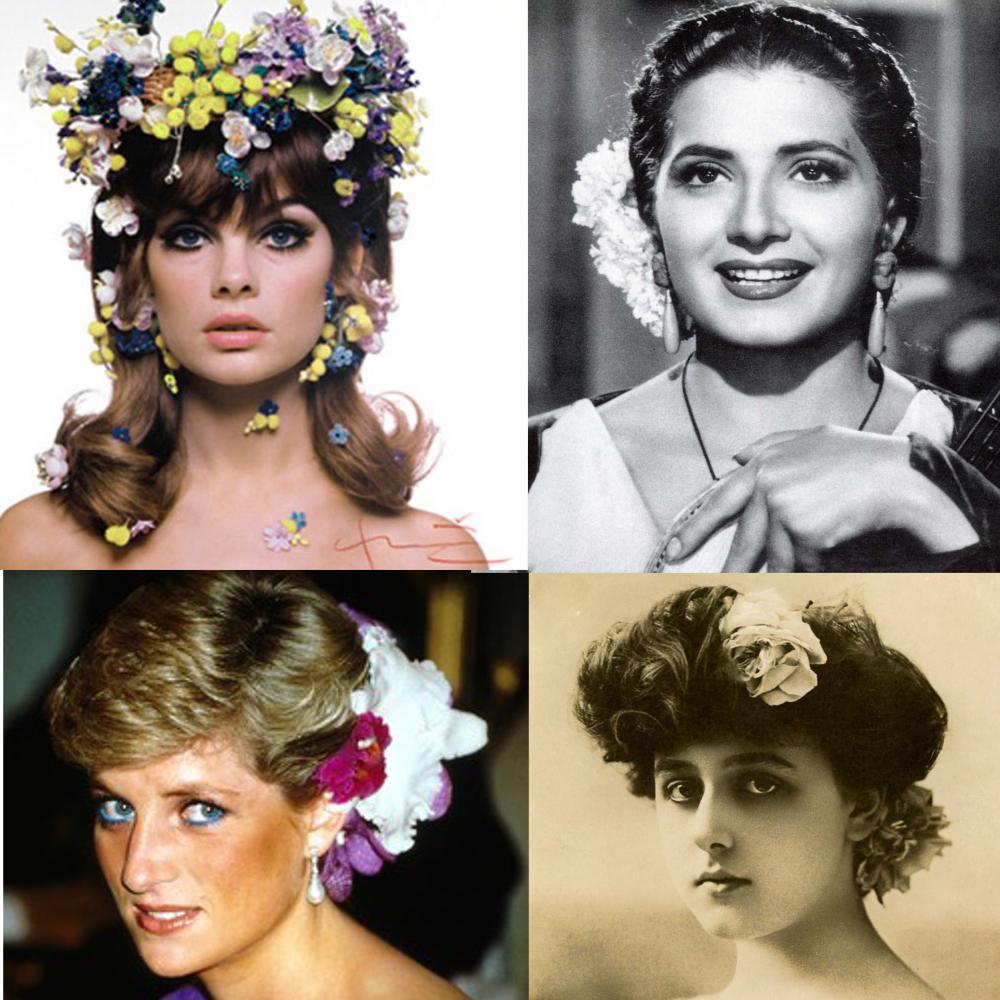 Princesa Diana Juanita Reina Jean Shripmton flor pelo